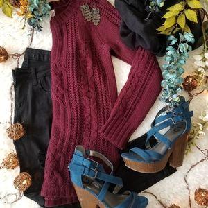 Maroon Sweater, Skinnies, Heels